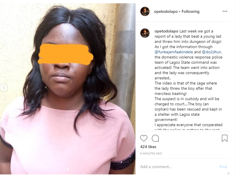 Screenshot_2019-08-15 Dolapo Badmus shares first photo of the woman filmed flogging a boy and locking him in a dog cage, co[...]